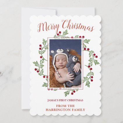 Custom Baby Photo First Christmas Holiday Card Zazzle Com Christmas Photo Cards Christmas Holiday Cards Custom Photo Christmas Card