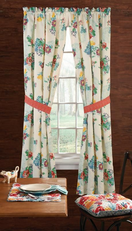 The Pioneer Woman Country Garden Window Curtain Panel 40 W X 84 L Set Of 2 Multiple Sizes Wal Kitchen Curtains And Valances Panel Curtains Garden Windows