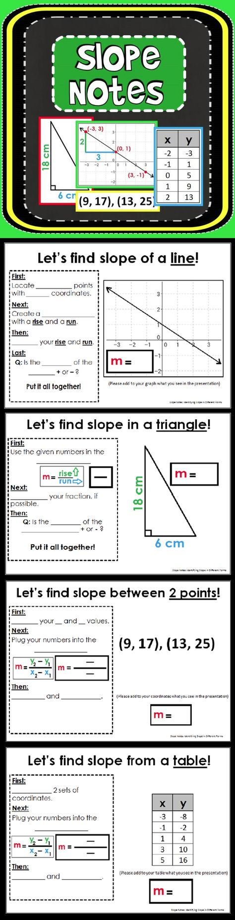 110 Slope ideas   middle school math [ 1856 x 474 Pixel ]
