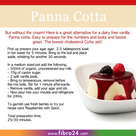 We created a bunch of recipes that could help folks with fibromyalgia. This Panna Cotta made with soy milk and no gelatine is a perfect treat with healthy benefits.