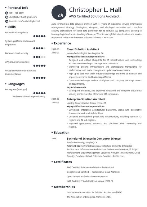 Solution Architect Resume Example Template Initials In 2020 Architect Resume Sample Job Resume Examples Architect Resume