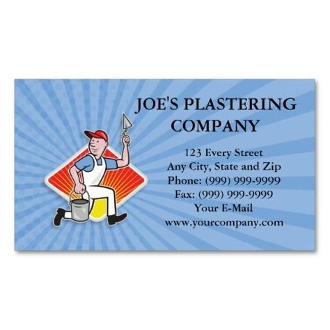 Plaster Masonry Worker Cartoon Business Card Zazzle For Plastering Business Cards Templates Business Card Template Card Template Business Card Design