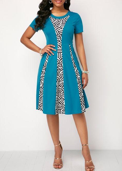 a540ec43c9f US  33.69 - Printed Short Sleeve Zipper Back Dress
