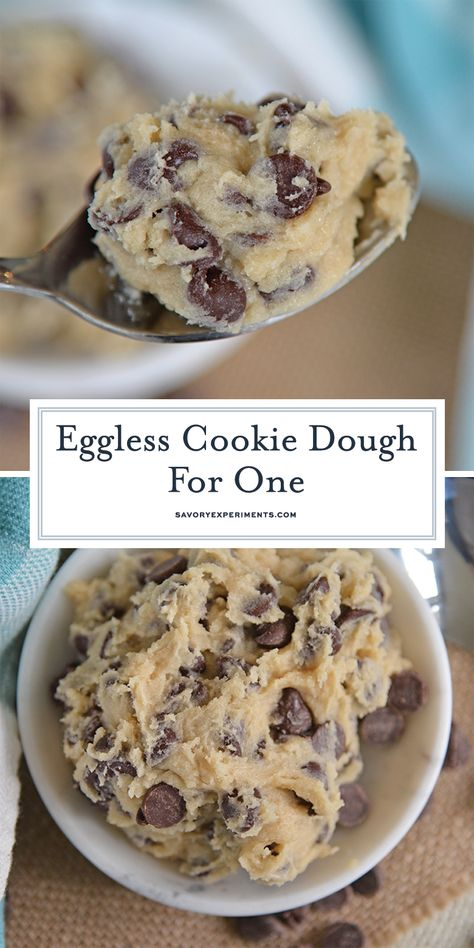 Single Serving Chocolate Chip Cookie Dough is an edible cookie dough recipe that is eggless and makes just enough for one person.