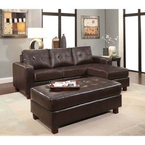 Outstanding Abbyson Montgomery Leather Reversible Sectional And Ottoman Ncnpc Chair Design For Home Ncnpcorg
