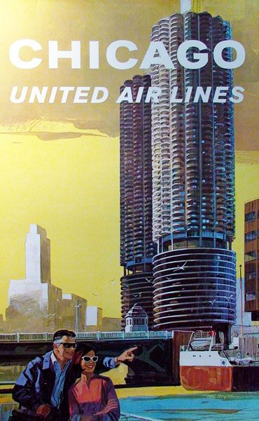 Vintage United Airlines travel poster, w/Chicago's Marina City towers.