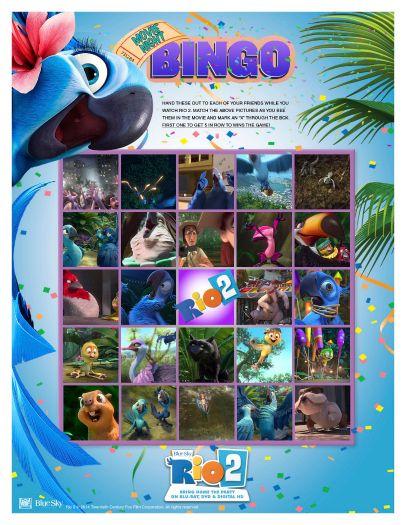 Rio 2 Printable Movie Night Bingo Game Sweeps4bloggers Rio Movie Movie Night Family Movie Night