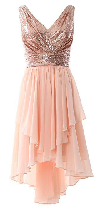 Macloth Women Straps V Neck Sequin Chiffon High Low Prom Dress Formal Party Gown 10 Rose High Low Bridesmaid Dresses Bridesmaid Dresses High Low Prom Dresses