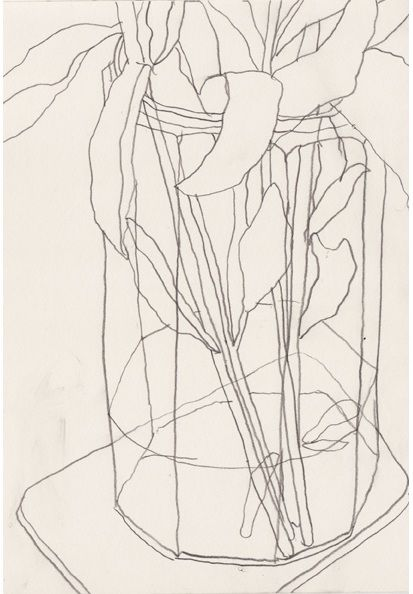 contour line drawings - student work - graphite pencil - CLOSED COMPOSITION (image goes of the edge of the paper)
