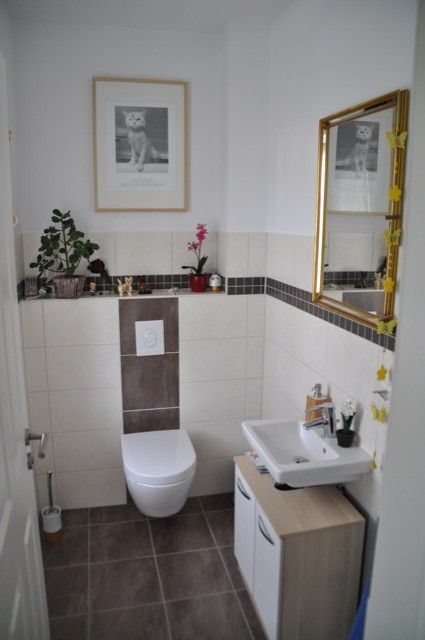 Gäste-WC weiß grau Wohnideen Bad Pinterest Powder room - badezimmer beige grau wei