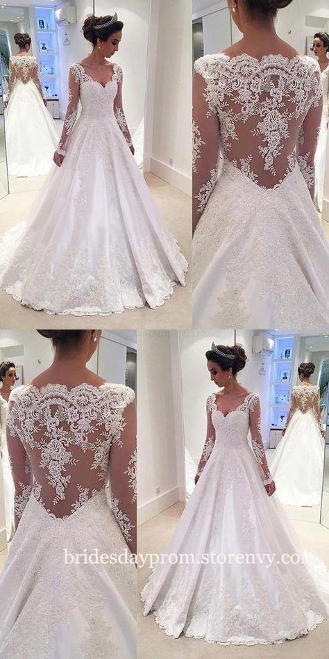 Modest Wedding Dresses,Wedding Dresses Long, Lace Wedding Dresses,Wedding Dresses With Long Sleeves,Illusion Back V Neck White Bridal Gown on Storenvy