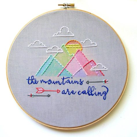The Mountains Are Calling Embroidery Hoop Art - 6 inch