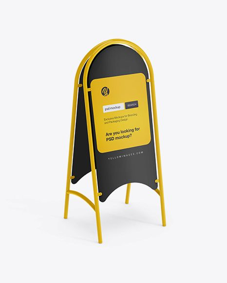 Glossy Street Stand Mockup In Outdoor Advertising Mockups On Yellow Images Object Mockups Outdoor Advertising Mockup Mockup Mockup Free Psd