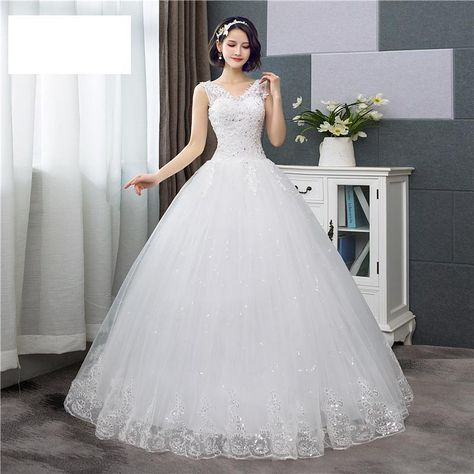 Sexy V-neck Lace Wedding Dress Sleeveless Floral Print Ball Gown