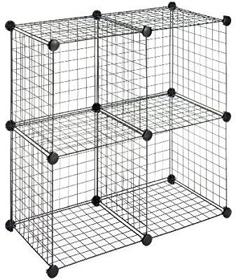 Amazon Com Whitmor Storage Cubes Stackable Interlocking Wire Shelves Black Set Of 4 Home Kitchen Wire Storage Whitmor Wire Storage Shelves