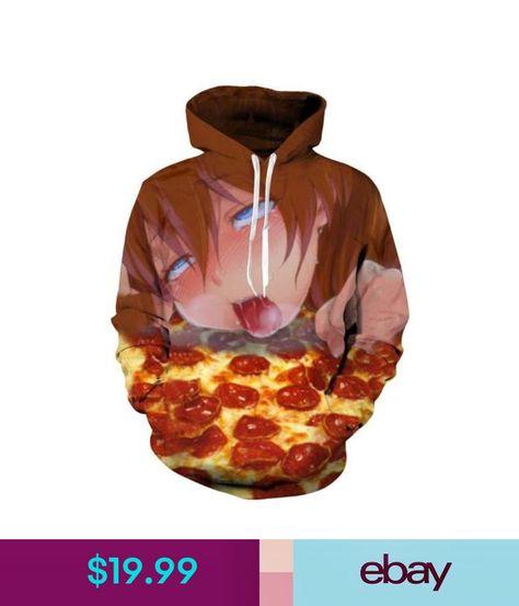New Womens//Mens Ahegao Anime Girl Funny Pizza 3D Print Casual Hoodie Sweatshirt