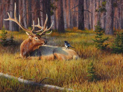 DEER ART PRINT Whitetail in Aspens by Greg Alexander Wildlife Buck Poster 11x14