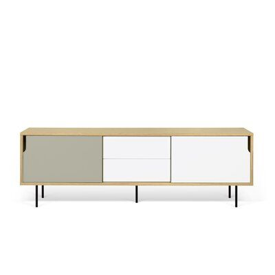 Tema Dann Sideboard Color Oak Pure White Matte Grey Lacquered