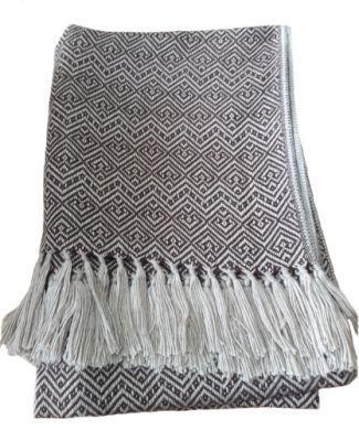 Braun Weisse Wolldecke Peruanische Alpakawolle 170 X 130 Cm