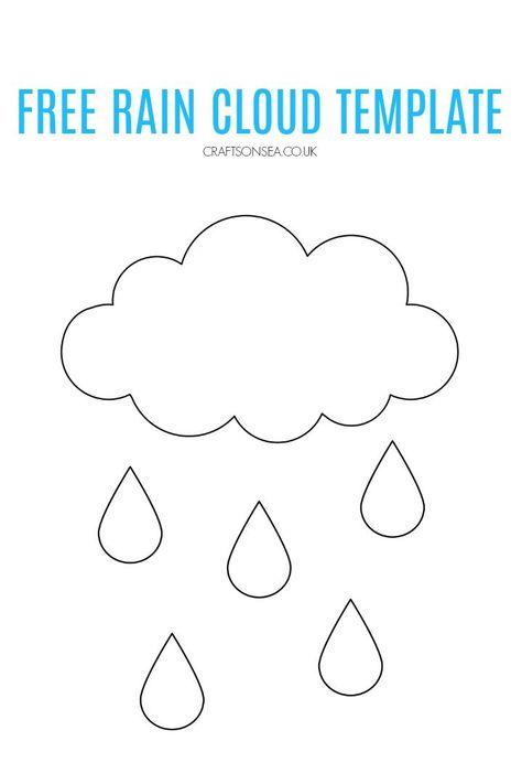 Free Rain Cloud Template In 2020 Cloud Template Clouds For Kids