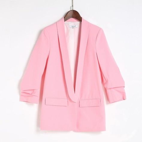 No Button Work Office Lady Casual Slim Business Blazer Plus Sizes - Pink / S