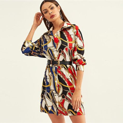To find out about the Chain Print Shirt Dress at SHEIN, part of our latest Dresses ready to shop online today!