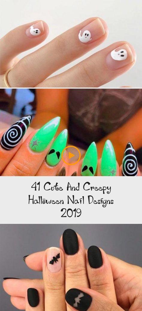 41 Cute And Creepy Halloween Nail Designs 2019 #naildesigns #blacknails #simplenails #shortsimplenails #longsimplenails