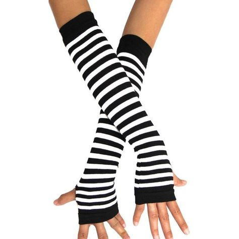 Punk Gothic Rock Long Arm Warmer Fingerless Striped pattern good stretch Gloves