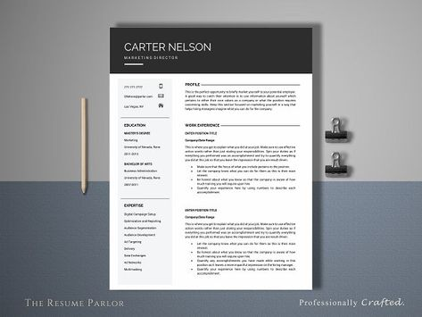 Resume Template 4 Page Director Resume cv, Letterhead and - media resume