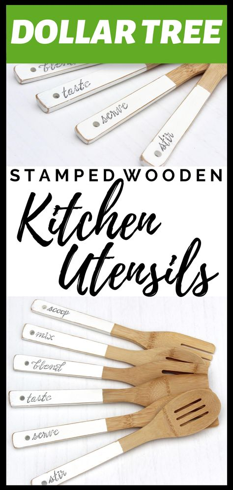 This is such a fun and easy craft using Dollar Tree wood kitchen utensils. If you love Dollar Tree crafts, you'll love this! This is such a fun and easy craft using Dollar Tree wood kitchen utensils. If you love Dollar Tree crafts, you'll love this! Dollar Tree Cricut, Dollar Tree Decor, Dollar Tree Crafts, Diy Kitchen Decor, Wooden Kitchen, Kitchen Modern, Dollar Store Hacks, Dollar Stores, Kitchen Utensils