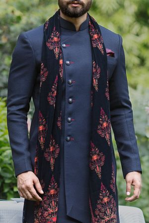 Buy Asymmetric Blue Indo Western Outfit - Contemporary wear from the house of Manyavar. Choose from a wide range of designer Indo western sherwani, traditional dresses for men online.