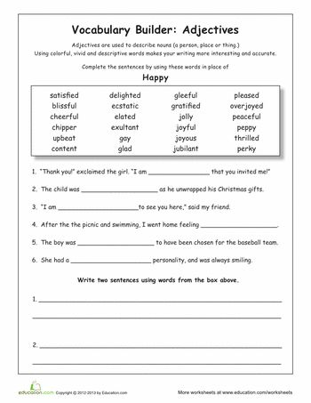 Synonyms For Happy Grammar Worksheets Middle School Grammar