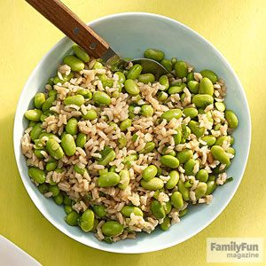 Edamame Rice Salad: Got leftover rice? We'll show you how to quickly transform it into a cool companion for our Honey-Miso Nuggets. Toasted sesame oil gives the salad a deep, nutty taste.