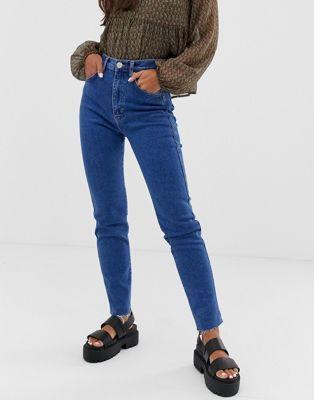 Pull&Bear slim mom stretch jeans in dark blue   ASOS   Women