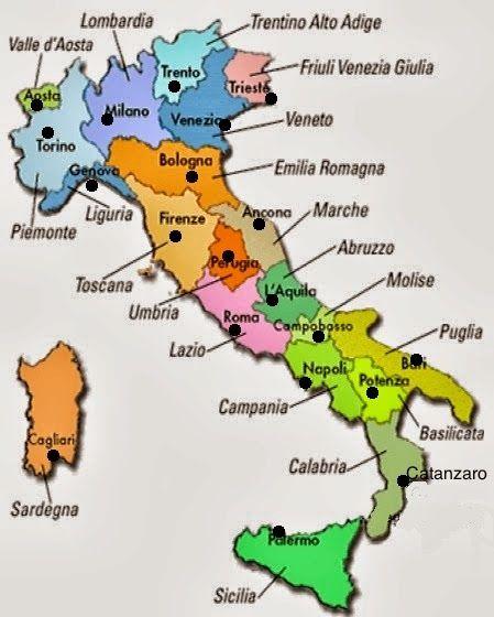 Cartina Spagna Con Regioni E Capoluoghi.Diario Di Scuola Regioni E Capoluoghi D Italia Mappa Dell Italia Foto Della Scuola Materiale Per Scuola Media
