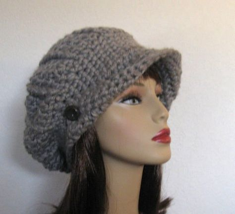 Newsboy hat, visor cap, billed man or woman hat, Slouchy Beanie ...
