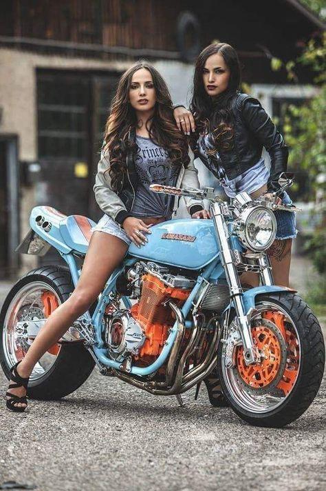 80 Honda CB 750 with Suzi Flores. Vintage style cafe