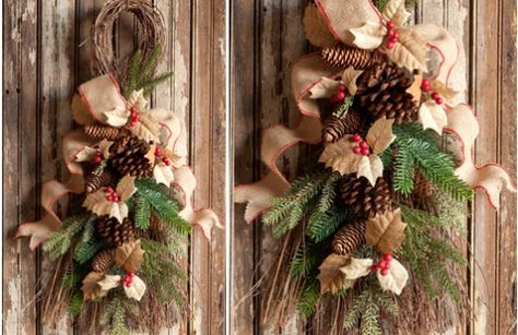 Decorate your door for Christmas with this burlap, holly, and evergreen Door Swag. These 32in tall Holiday Door Decorations are made with beautiful Christmas Burlap perfect for bringing out your holiday spirit. For more visit, www.decorsteals.com or www.facebook.com/decorsteals