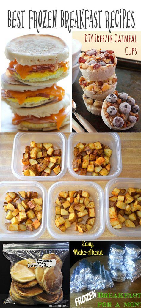Best frozen breakfast meals recipes. To make ahead and eat on the go.  Frozen breakfast sandwiches. Frozen breakfast burritos. Frozen pancakes. Frozen oatmeal cups. and even frozen breakfast bowls
