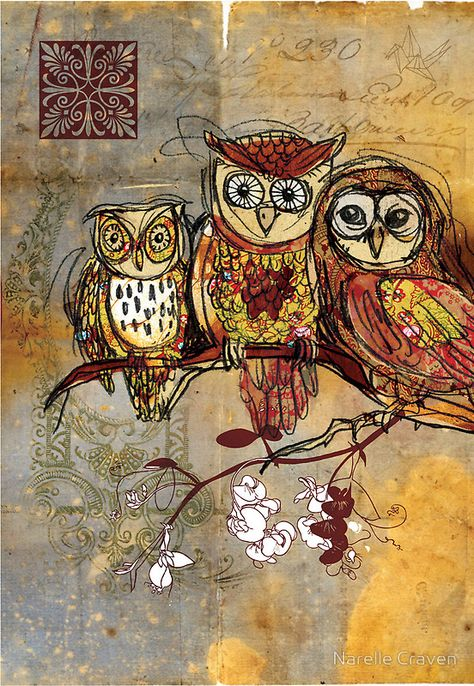 'Patchwork Owls- Mixed Media' Canvas Print by Narelle Craven