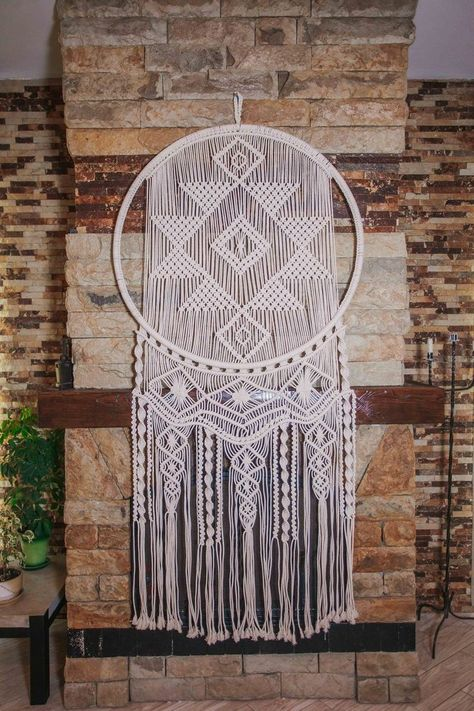 This beautiful macrame dream catcher \ will make a perfect statement wall art for your  boho wedding or bohemian home. Add it anywhere where you would like to add character and warmth. This white crochet dreamcatcher can also make a wonderful birthday gift.