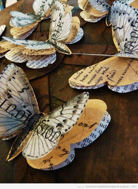 Manualidades para regalar, mariposas de papel