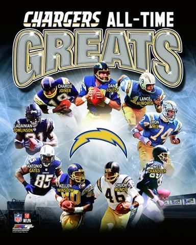 San Diego Chargers All Time Greats 9 Legends Premium Nfl Poster Print Photofile Inc Spo San Diego Chargers San Diego Chargers Football Chargers Football