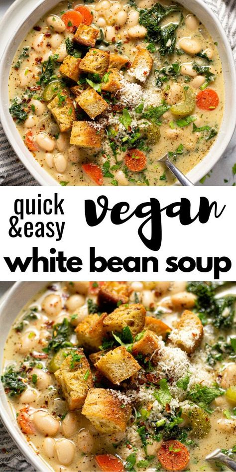 Vegetarian Recipes Discover Creamy Vegan White Bean & Kale Soup This creamy vegan white bean and kale soup comes together in less than 30 minutes. Its the perfect quick and easy dinner when youre looking for something hearty healthy and satisfying! Vegan Dinner Recipes, Veggie Recipes, Whole Food Recipes, Vegetarian Recipes, Cooking Recipes, Healthy Recipes, Healthy Vegan Meals, Kale Soup Recipes, Baby Recipes