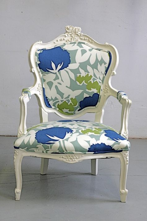 Painted and reupholstered antique French Louis arm chair