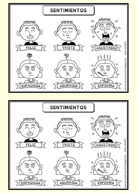 Dibujo De Expresiones De Emociones Y Sentimientos Para Trabajar Con Ninos De Nivel Inicial Sea Sentimientos Y Emociones Emociones Espanol De Escuela Primaria