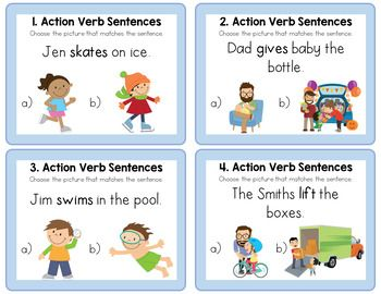 Action Verb Sentence Picture Match Task Cards | Task cards, Action verbs,  Verb task cards