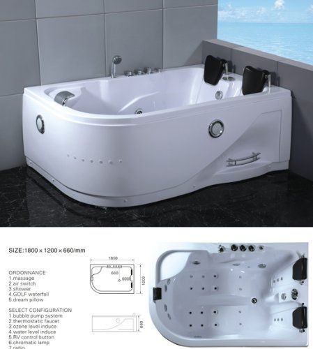 Two 2 Person Whirlpool Massage Hydrotherapy White Bathtub Tub With