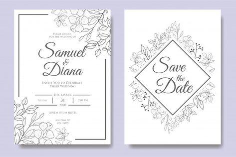 Plantilla de invitación de boda floral d...   Premium Vector #Freepik #vector #flor #boda #acuarela #vintage