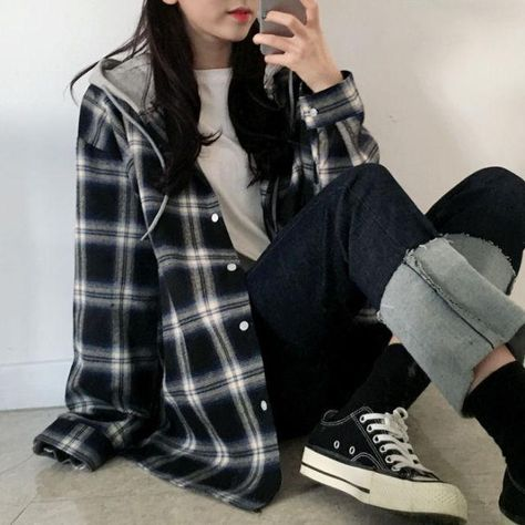 Basic Jackets Women Long Sleeve Plaid Hooded Lace-up Patchwork Womens Outwear Preppy-style Students Ulzzang Casual BF Fashion - black / XL